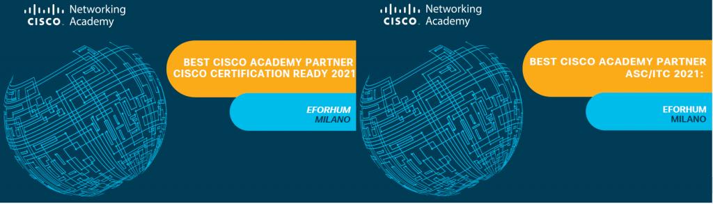 Cisco premia eForHum come miglior partner italiano anche nel 2021 nelle categorie: Cisco Certification Ready e Best ASC/ITC